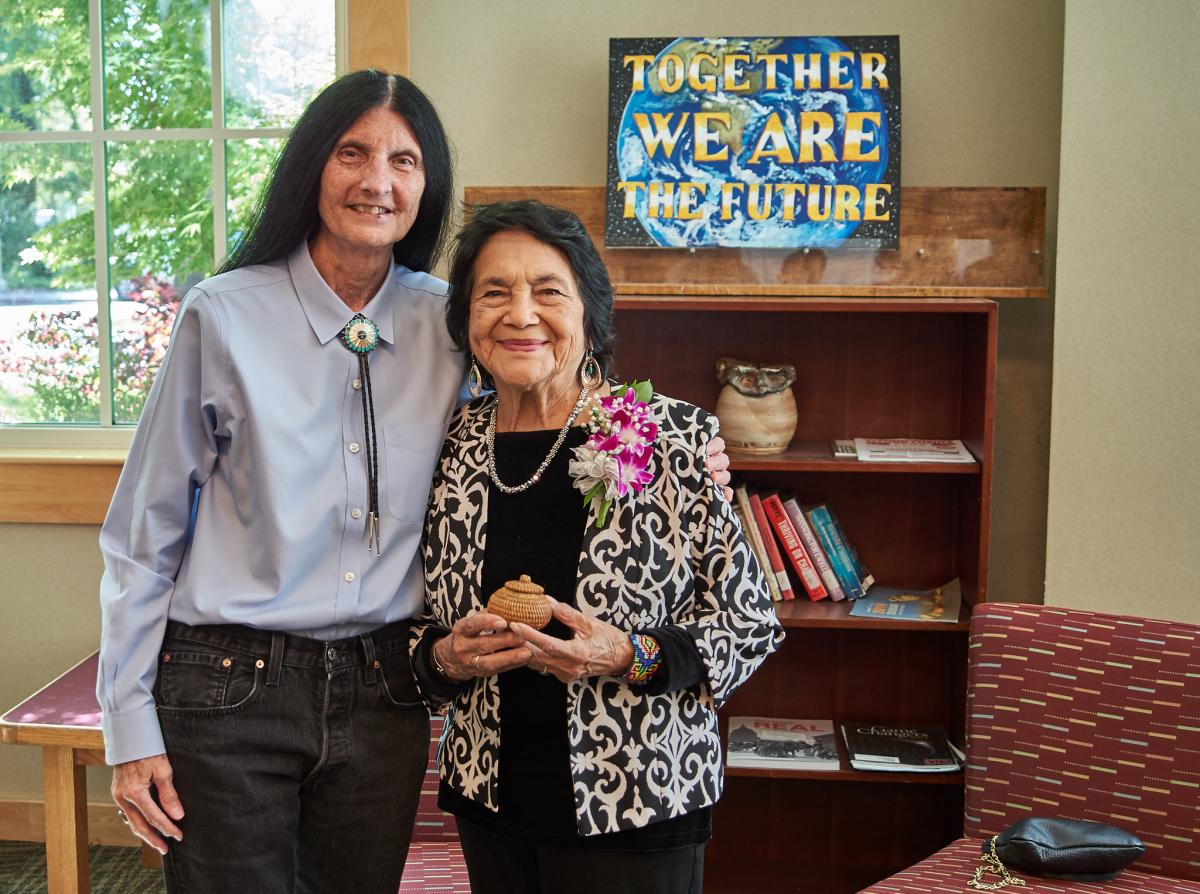 Delores Huerta and Brenda Flyswithhawks